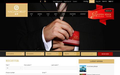Screenshot of Signup Page nagaworld.com - Register - NagaWorld - captured Dec. 12, 2018