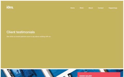 Screenshot of Testimonials Page theideabrand.com - Testimonials   the i.d.e.a. brand - captured Aug. 1, 2018