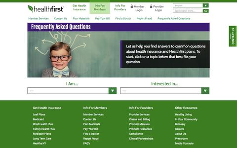 Screenshot of FAQ Page healthfirst.org - Health Insurance Frequently Asked Questions |Healthfirst - captured Nov. 1, 2014