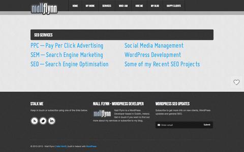 Screenshot of Services Page niallflynn.com - SEO & Wordpress Services Ireland - Niall Flynn - captured Oct. 26, 2014
