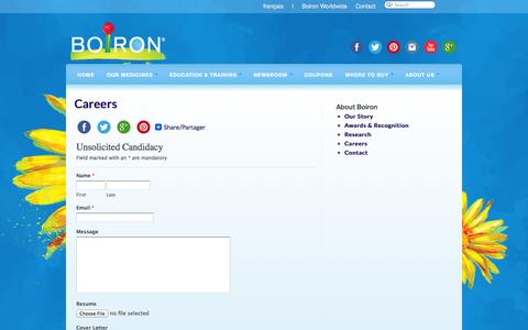 Screenshot of Jobs Page boiron.ca - Careers | Boiron Canada - captured Nov. 3, 2014