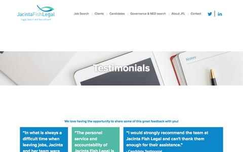 Screenshot of Testimonials Page jacintafishlegal.com.au - Testimonials JFL - Jacinta Fish Legal, legal recruitment melbourne, legal jobs, legal recruitment - captured June 8, 2017
