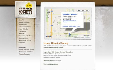 Screenshot of Contact Page Maps & Directions Page lenexahistoricalsociety.org - Lenexa Historical Society - captured Oct. 22, 2014