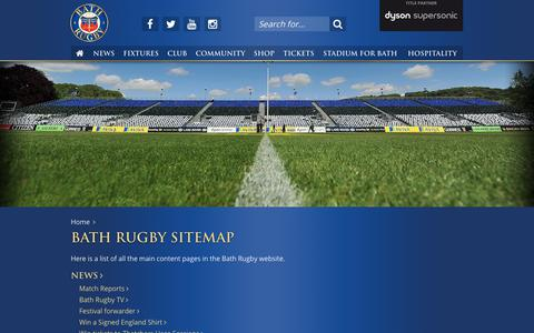 Screenshot of Site Map Page bathrugby.com - Bath Rugby Sitemap - captured Aug. 1, 2018