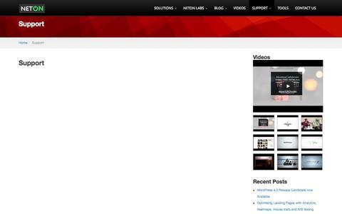 Screenshot of Support Page neton.com.au - Support - NetON - captured Oct. 7, 2014