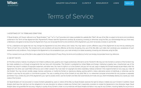 Screenshot of Support Page Terms Page wiser.com - Wise Commerce Terms of Service - captured April 3, 2017
