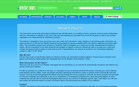 Screenshot of Privacy Page precisetours.com - Privacy Policy at Precise Tours ~ Turkey Travel Agency and Tour Operator - captured Sept. 24, 2014