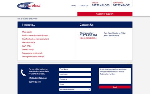 Screenshot of Support Page autoprotect.co.uk - AutoProtect | Policy Holder - captured Dec. 27, 2015