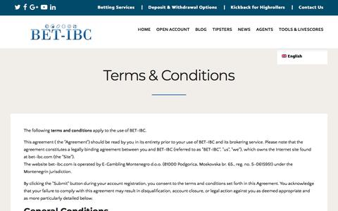 Screenshot of Terms Page bet-ibc.com - Terms & Conditions -BET-IBC - captured July 31, 2018