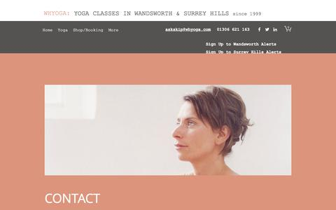 Screenshot of Contact Page whyoga.com - Contact | WHYOGA | Balham, Earlsfield, Wandsworth - captured June 29, 2018