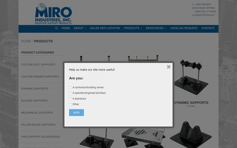 Screenshot of Products Page miroind.com - Products Archive - MIRO Industries, Rooftop Support Systems - captured Nov. 2, 2018