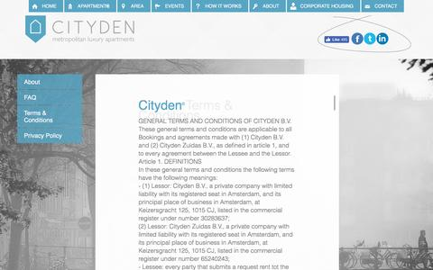Screenshot of Terms Page cityden.com - Terms & Conditions - About - Cityden - captured July 13, 2016