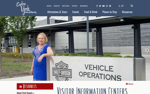 Screenshot of Contact Page yorkpa.org - York County, PA: Visitor Information Centers - captured Oct. 20, 2018