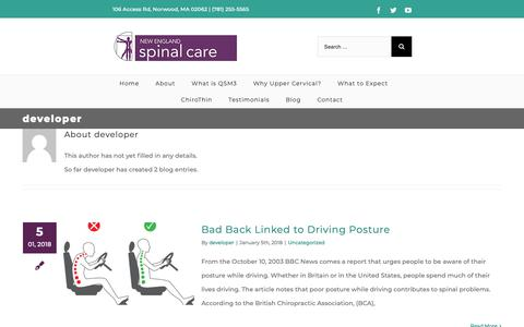 Screenshot of Developers Page nespinalcare.com - developer, Author at New England Spinal Care - captured Oct. 19, 2018