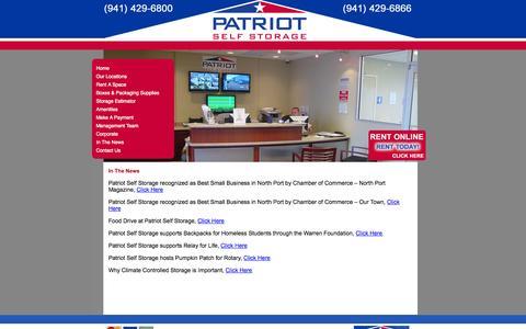 Screenshot of Press Page patriotstorage.com - In The News | Patriot Storage - captured Oct. 2, 2014