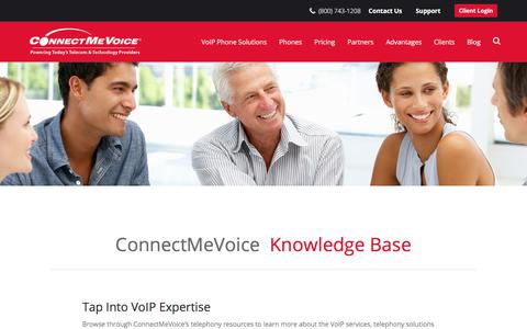 Screenshot of Support Page connectmevoice.com - Knowledge Base | ConnectMeVoice - captured July 20, 2018
