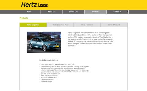 Screenshot of Products Page hertzlease.ie - Products - captured Oct. 7, 2014