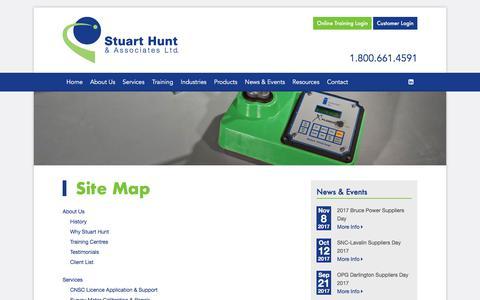 Screenshot of Site Map Page stuarthunt.com - Radiation Safety, Radiation Compliance   Stuart Hunt & Associates - captured Nov. 9, 2017