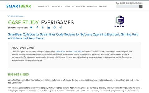 Screenshot of Case Studies Page smartbear.com - Case Study: Everi Games | SmartBear - captured May 19, 2017