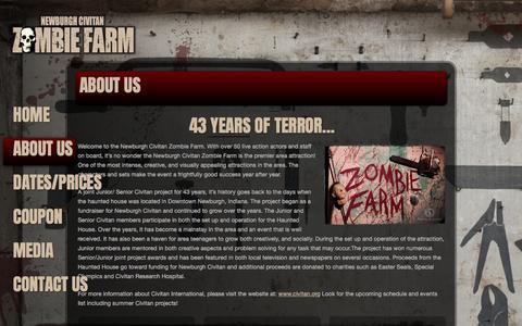 Screenshot of About Page zombiefarm.net - About the Newburgh Civitan Zombie Farm - captured April 9, 2017