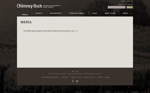 Screenshot of Press Page chimneyrock.com - Chimney Rock - Media - captured April 15, 2016