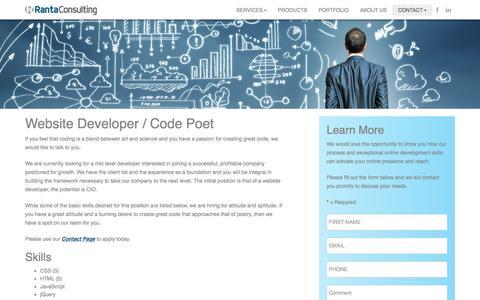 Screenshot of Developers Page rantaconsulting.com - Now Hiring - Website Developer / Code Poet - captured Nov. 29, 2016