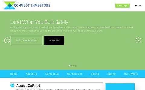Screenshot of Home Page copilotinvestors.com - CoPilot – M&A Partners - captured July 19, 2018