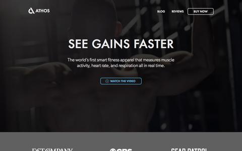 Screenshot of Home Page liveathos.com - Athos - Wearable Technology for Fitness - captured Sept. 20, 2015
