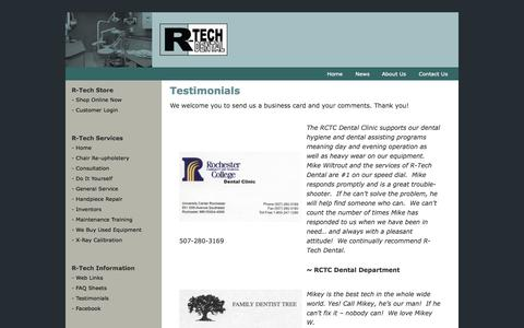 Screenshot of Testimonials Page rtechdental.com - Testimonials – Welcome to R-Tech Dental - captured Oct. 9, 2014