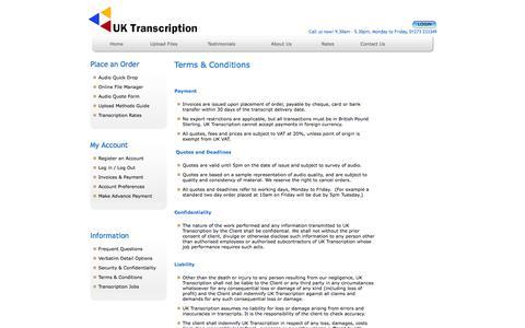 Screenshot of Terms Page uktranscription.com - Terms & Conditions - captured Sept. 23, 2014