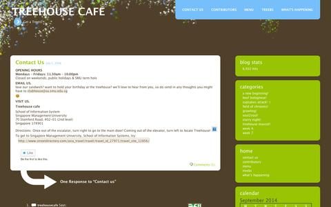Screenshot of Contact Page wordpress.com - Contact us | Treehouse cafe - captured Sept. 12, 2014