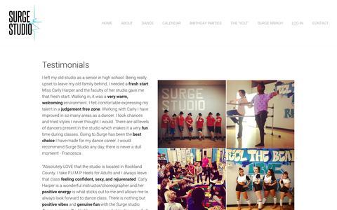 Screenshot of Testimonials Page surgestudioarts.com - Testimonials - Surge Studio - captured Oct. 20, 2018