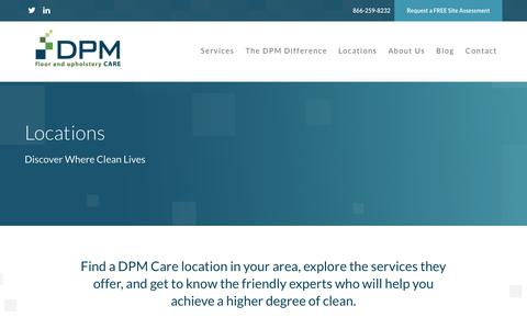 Screenshot of Locations Page dpmcare.com - Locations | Expert Commercial Carpet Cleaning DPM Care DPM Care - captured Aug. 5, 2018