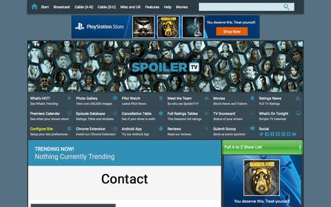 Screenshot of Contact Page spoilertv.com - Contact | Spoilers - captured Oct. 2, 2015