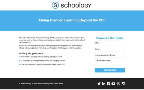 Screenshot of Landing Page schoology.com - Taking Blended Learning Beyond the PDF - captured March 31, 2018