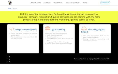 Screenshot of Services Page boldkiln.com - Bold Kiln - Services - captured June 2, 2017