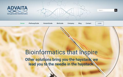 Screenshot of Home Page advaitabio.com - Next Generation Bioinformatics - Advaita Bioinformatics - captured Nov. 12, 2018