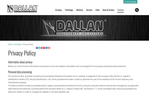 Screenshot of Privacy Page dallan.com - Information about privacy   Dallan Rollformers - captured Oct. 4, 2017