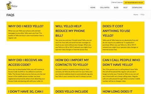 Screenshot of FAQ Page myyello.com - Frequently Asked Questions | Yello - captured Sept. 30, 2014