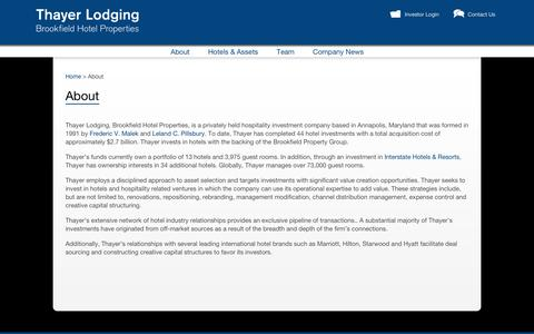 Screenshot of About Page thayerlodging.com - Hospitality Investment - Invest in Hotels | Thayer Lodging, Brookfield Hotel Properties - captured Nov. 5, 2014