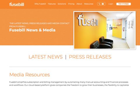 Screenshot of Press Page fusebill.com - News and Media | Fusebill - captured July 29, 2018