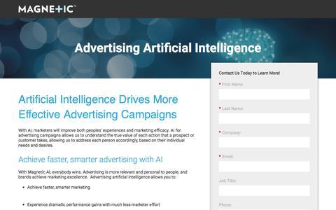 Screenshot of Landing Page magnetic.com - Magnetic - Artificial Intelligence - captured Sept. 11, 2017