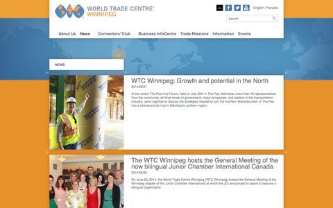 Screenshot of Press Page wtcwinnipeg.com - News | WORLD TRADE CENTRE Winnipeg - captured Oct. 4, 2014