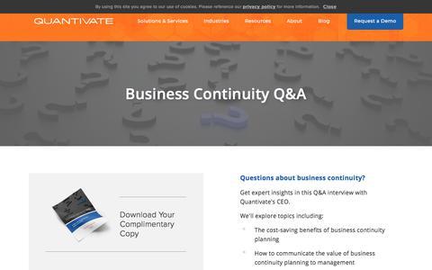 Screenshot of FAQ Page quantivate.com - Business Continuity Q&A | Quantivate - captured Dec. 3, 2019