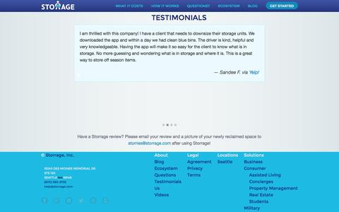 Screenshot of Testimonials Page storrage.com - Storrage - Your space is for living. - captured Oct. 7, 2014