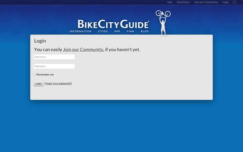 Screenshot of Login Page bikecityguide.org - Login - BikeCityGuide - captured Sept. 19, 2014