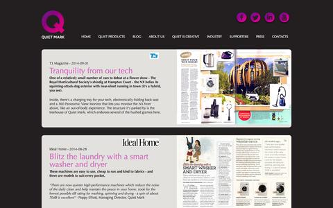 Screenshot of Press Page quietmark.com - Press Quiet Mark | Quiet Mark - captured Sept. 25, 2014