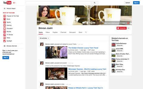 Screenshot of YouTube Page youtube.com - Simran Joshi  - YouTube - captured Oct. 23, 2014