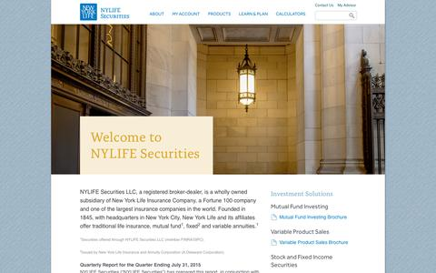 Screenshot of Home Page newyorklife.com - Welcome to NYLIFE Securities LLC - captured Sept. 13, 2015