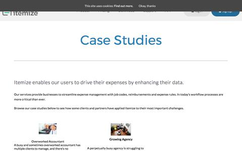 Screenshot of Case Studies Page itemize.com - Case Studies - Itemize - Instant Expense Management (iOS & Android) - captured Oct. 15, 2017